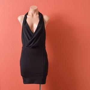 Bec & Bridge Black Surplice Neckline Mini Dress
